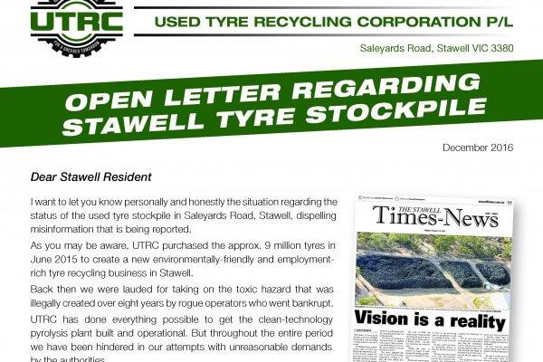 UTRC Open Letter Stawell residents