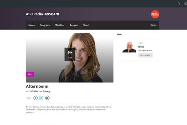 Kat Feeney interviews Venero Armanno on ABC Radio