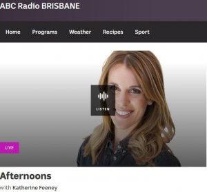book publicity radio interview on ABC Brisbane
